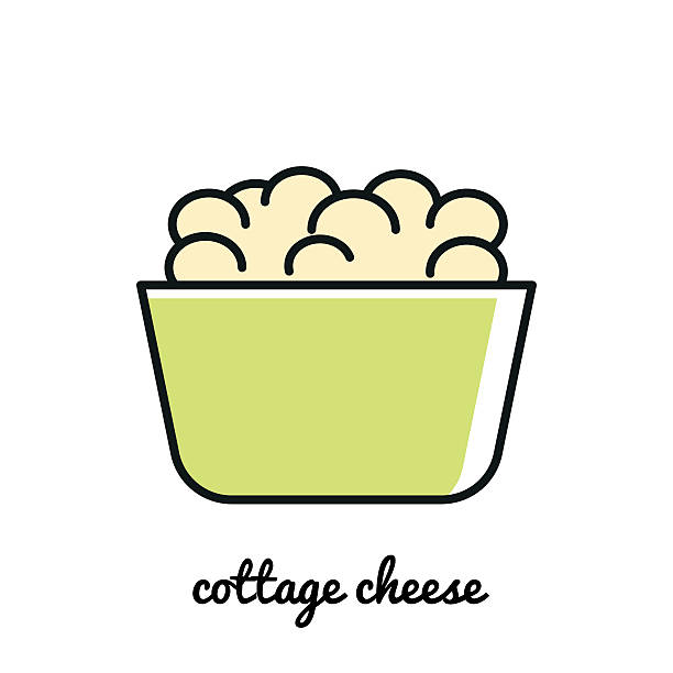 Line Art Cottage Cheese Icon Infographic Element Vector Illustration