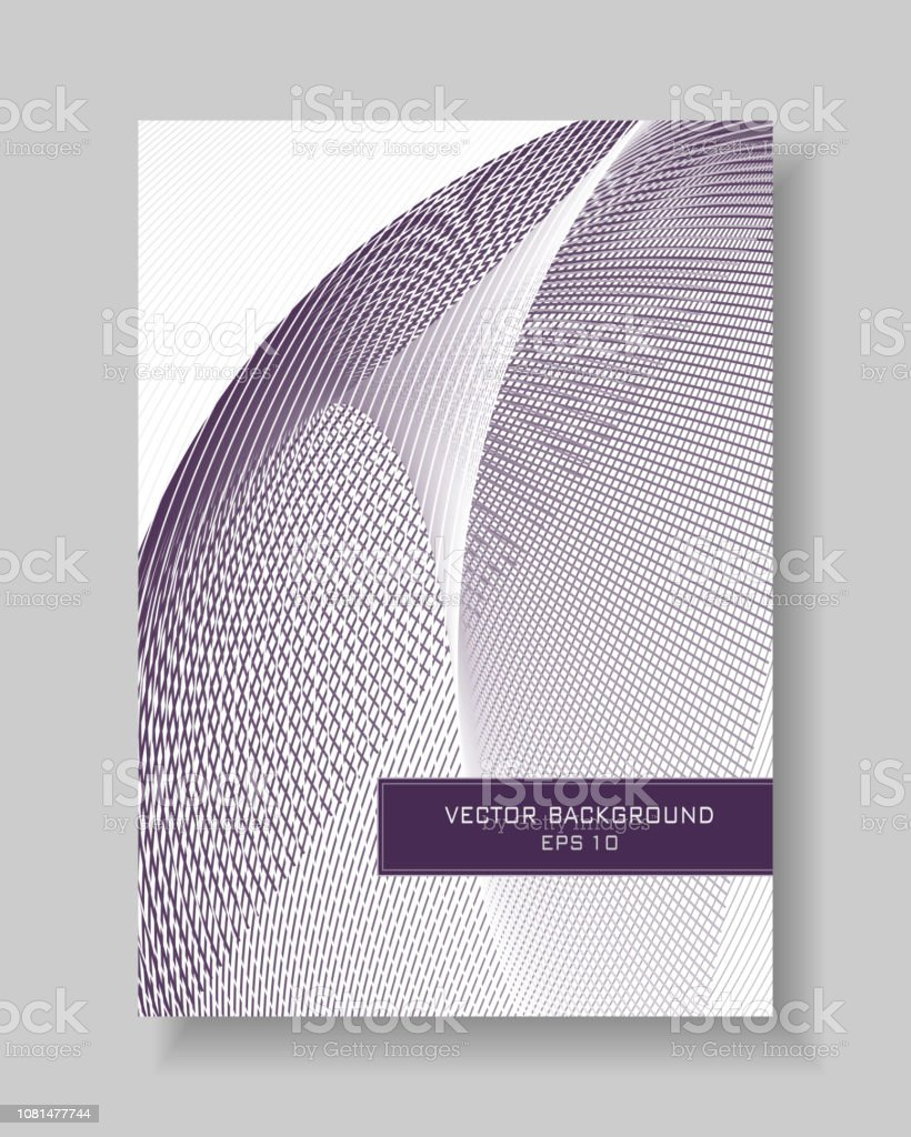 Line art cover layout A4. Abstract bordo, maroon curves on a white background. Technology geometric concept. Vector template with text box for book, booklet, brochure, portfolio, leaflet, annual report, poster, flyer. EPS10 illustration векторная иллюстрация