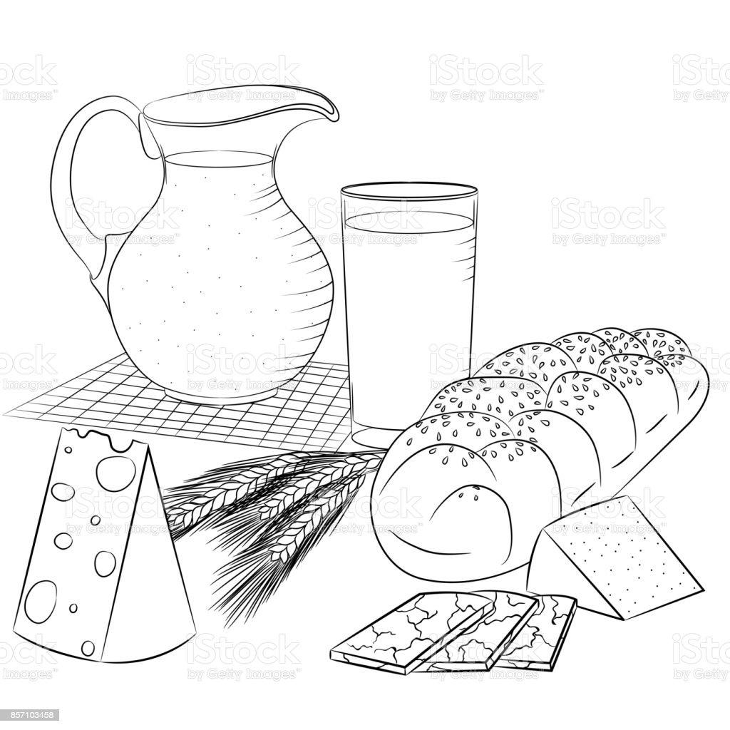 Hat Sanat Sut Urunleri Ve Ekmek Stok Vektor Sanati Bardak Nin