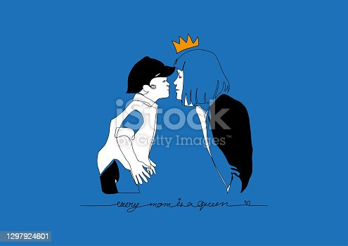 istock Line Art, Doodle black and white of surrealistic style of Mother and Son kissing on blue background, Mother'day in Contempolary Abtract design for Greeting card, T-shirt, Wap or Cover banner 1297924601