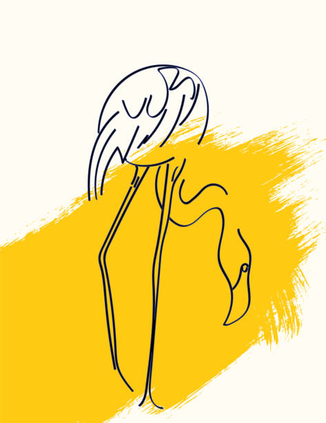 Line Art Drawing Of A Flamingo vector art illustration
