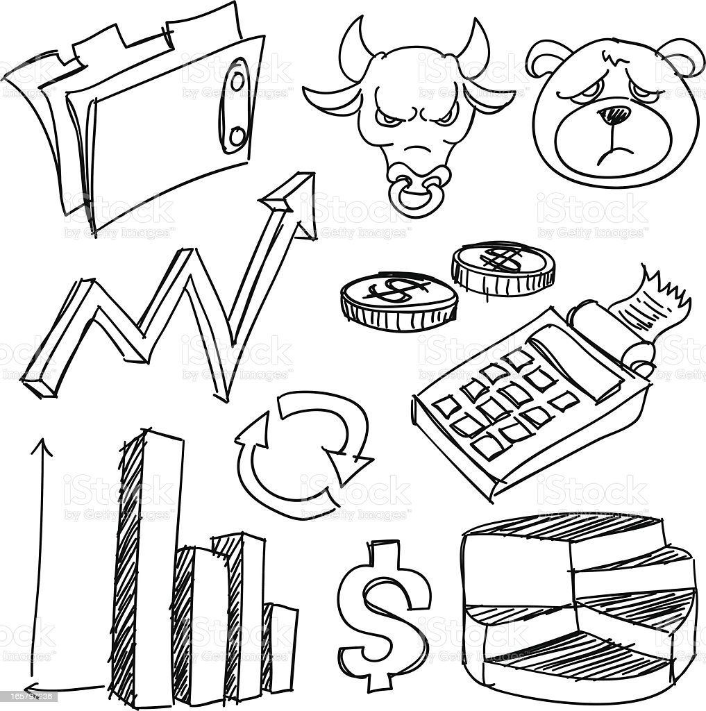 Line art drawings related to business and finance royalty-free stock vector art
