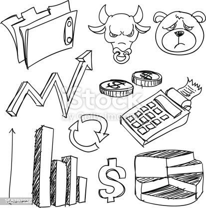 Line Art Drawings Related To Business And Finance Stock