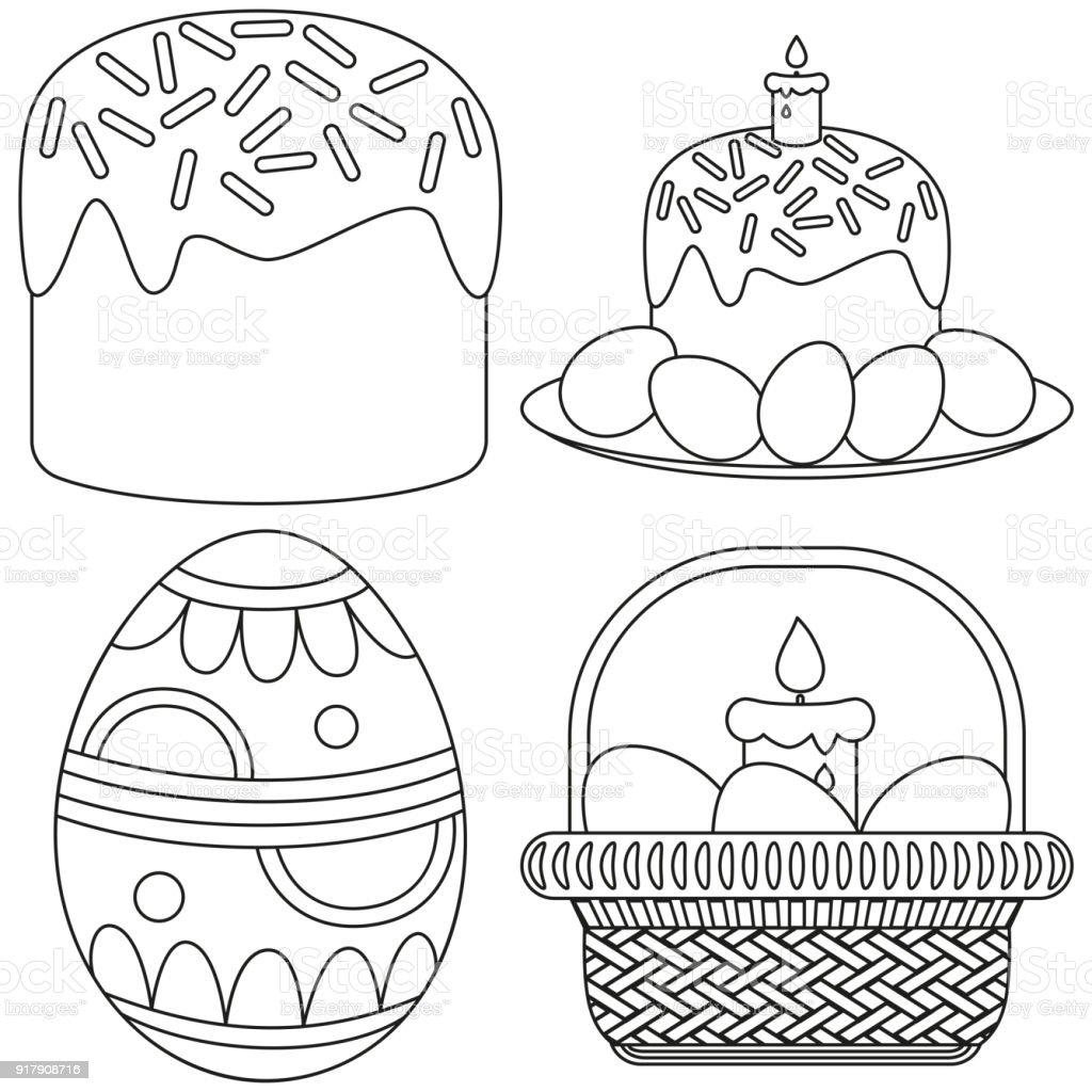 Cizgi Sanati Paskalya Mum Yumurta Sepet Kek Icon Set Stok Vektor