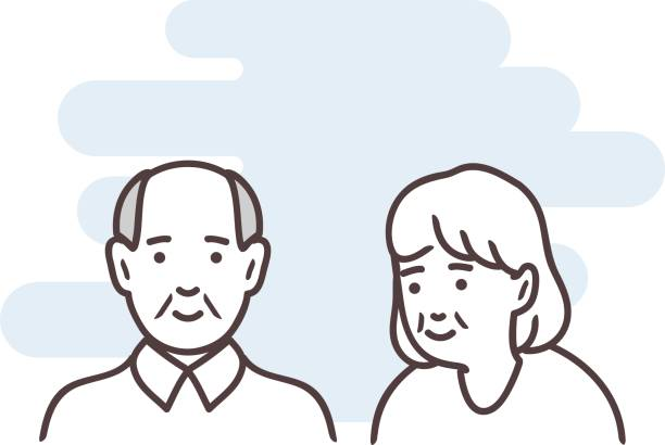 line art elderly couple portrets - old man smiling silhouettes stock illustrations, clip art, cartoons, & icons