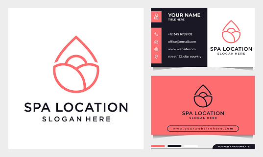 Line Art Elegant Rose flower with location icon logo design, beauty spa or cosmetics logo with business card template
