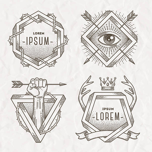 line art emblem with heraldic elements and impossible shape - thorn stock illustrations