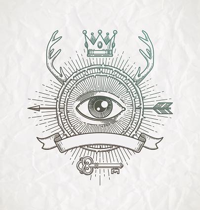 Line art emblem with heraldic elements and secret symbols