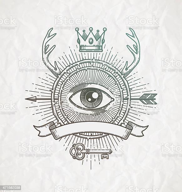 Line art emblem with heraldic elements and secret symbols vector id471582038?b=1&k=6&m=471582038&s=612x612&h=a0vnfyk89pojmacbrmdwmevtw1zio9wptpkwdza8ggi=
