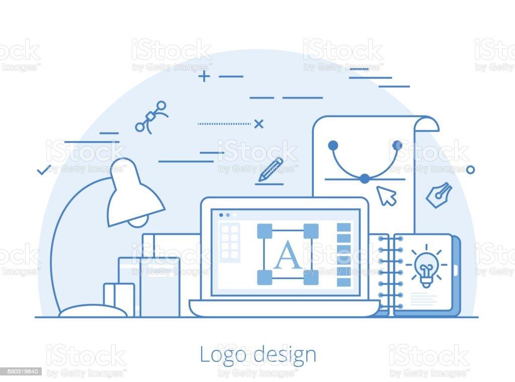 Ligne art logo plat design, l identité et la marque illustration de site Web 12b07bf6fc43