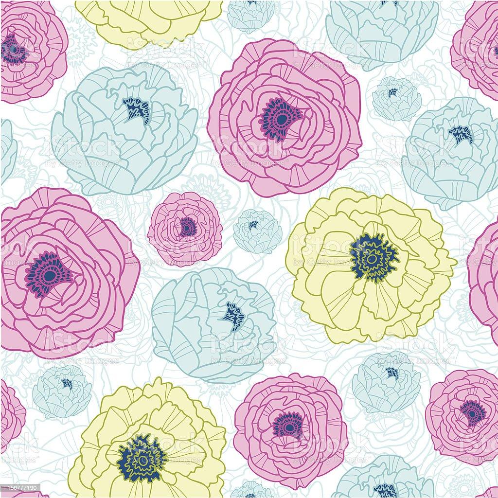 Line Art Flowers Seamless Pattern Background royalty-free stock vector art