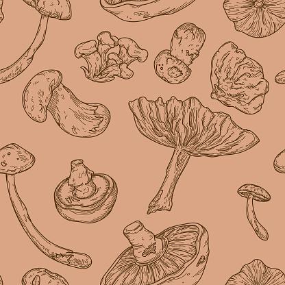 Line Art Forest Mushroom Seamless Pattern