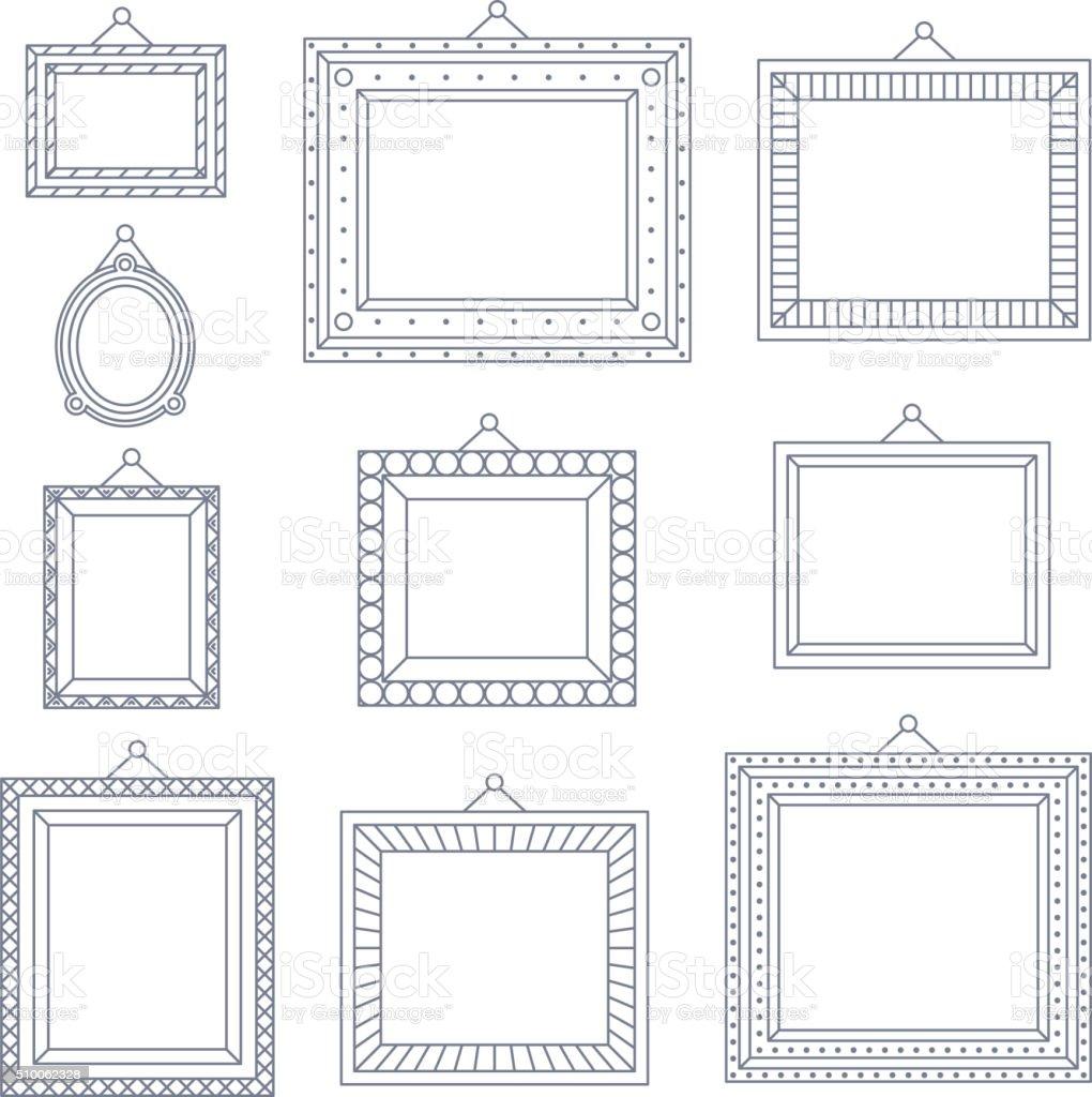 Ligne art cadre photo photo peinture dessin mod le de symbole de la d coration cliparts - Cadre photo dessin ...