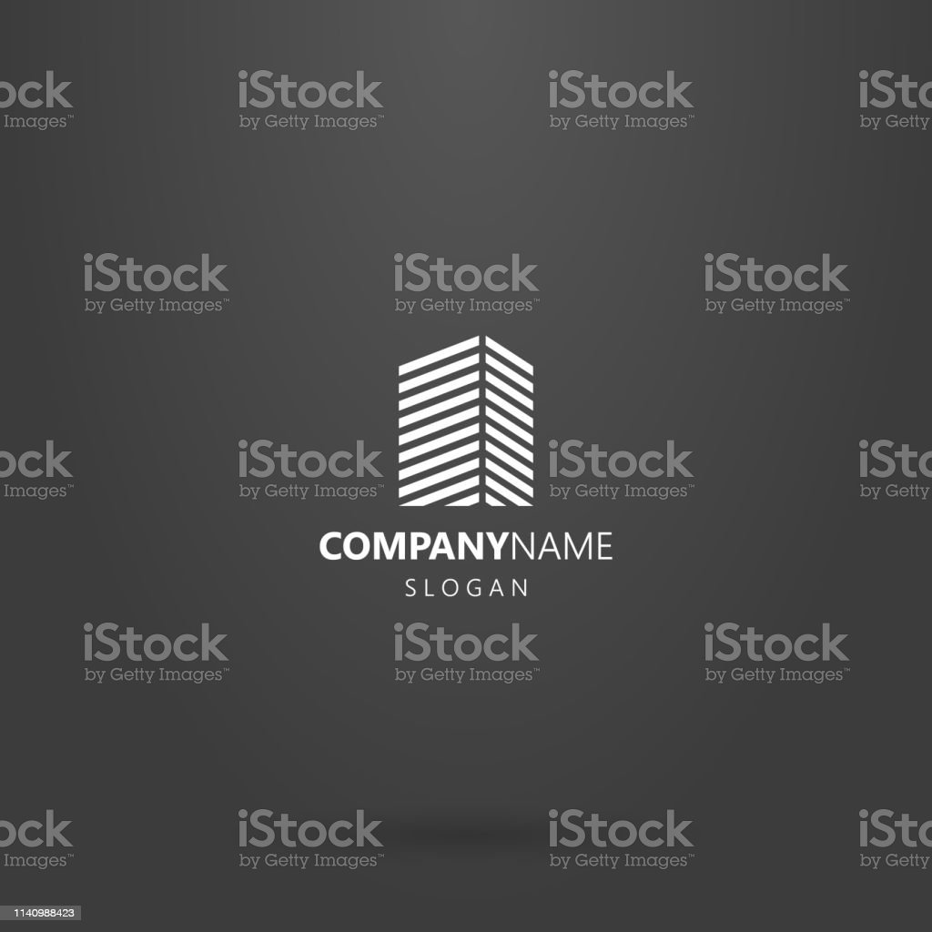 line art geometric logo of a high-rise building from diagonal lines vector art illustration