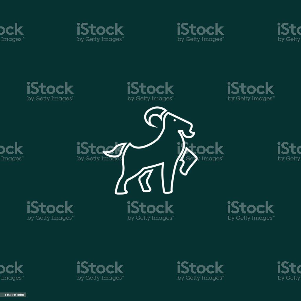 Yeşil arka plan üzerinde Çizgi sanatı Keçi İllüstrasyon - Royalty-free Basamak Vector Art