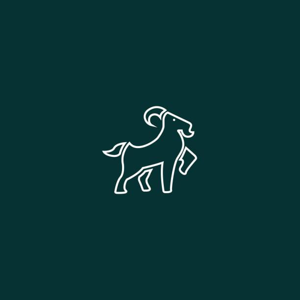 Yeşil arka plan üzerinde Çizgi sanatı Keçi İllüstrasyon vektör sanat illüstrasyonu