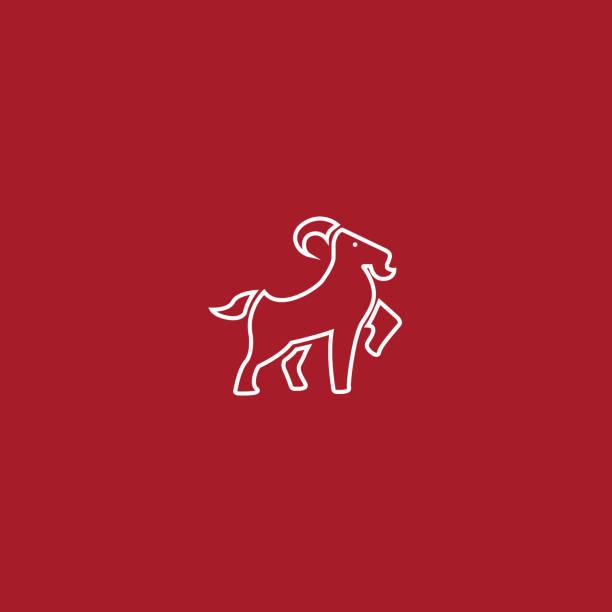Kırmızı arka plan üzerinde Çizgi sanatı Keçi İllüstrasyon vektör sanat illüstrasyonu