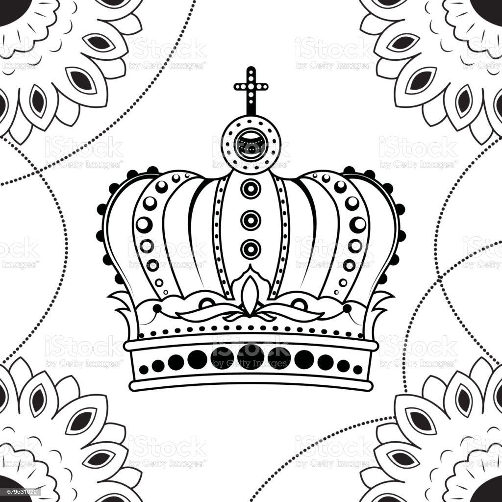 Ilustración de Línea Arte Mano Dibujo Corona Negro Aislado Sobre ...