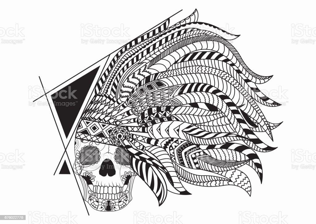 Ilustración De Línea Arte Mano Dibujo Negro Cráneo De Indio Rojo