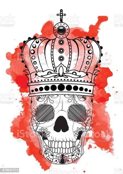 linie kunst hand die zeichnung schwarz totenkopf mit krone