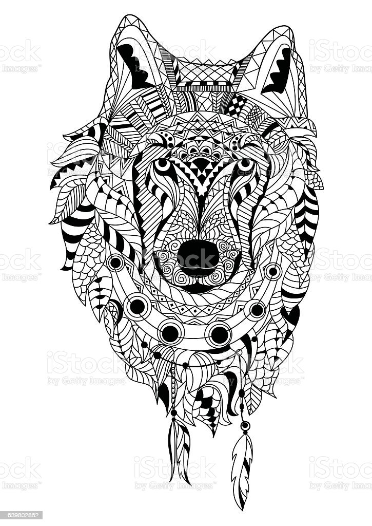 Line Art Hand Drawing Black Wolf Isolated On White