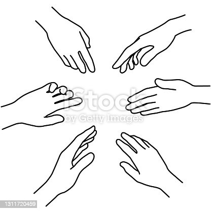 istock Line art hand illustrations representing diversity and cooperation (white background, vector, cut out) 1311720459