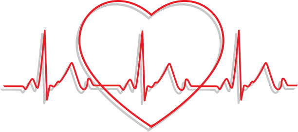 Line Art Heartbeat Monitor Icon Vector illustration of red line art heartbeat monitor icon with a gray shadow. taking pulse stock illustrations