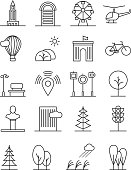 Line art house urban landscape icons. Linear trees and houses, nature city signs