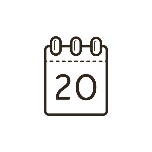 Linie Art Ikone der Abreißkalender mit Nummer 20 Blatt – Vektorgrafik