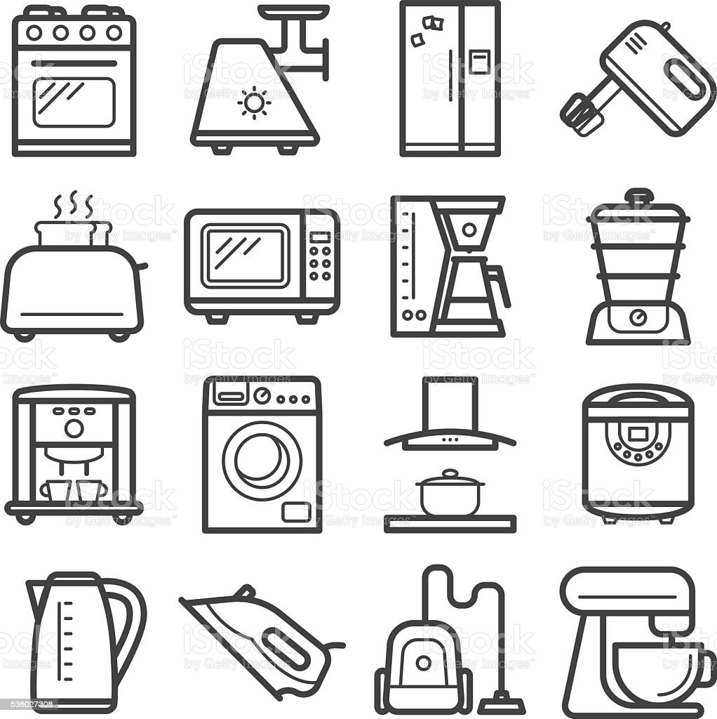 Line Art Icons : Line art icons of home appliances stock vector more