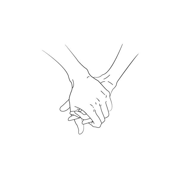 Line art illustration of a man and woman holding hands Line art illustration of a man and woman holding hands holding hands stock illustrations