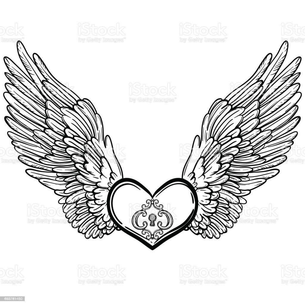 line art illustration of angel wings and heart vintage