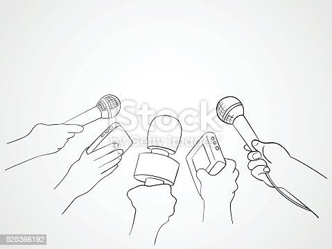 istock Line Art Illustration of Journalists 525366192