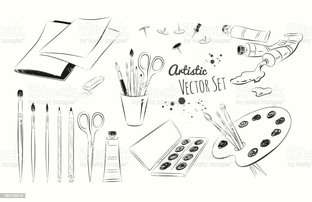 Line art illustration set of artists supplies vector art illustration