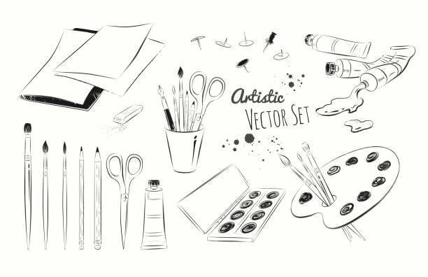 Line art illustration set of artists supplies - Illustration vectorielle