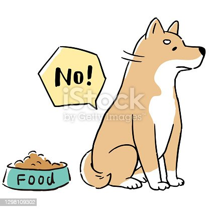 istock Line art illustration set of Shiba Inu who has no appetite and does not eat dog food 1298109302
