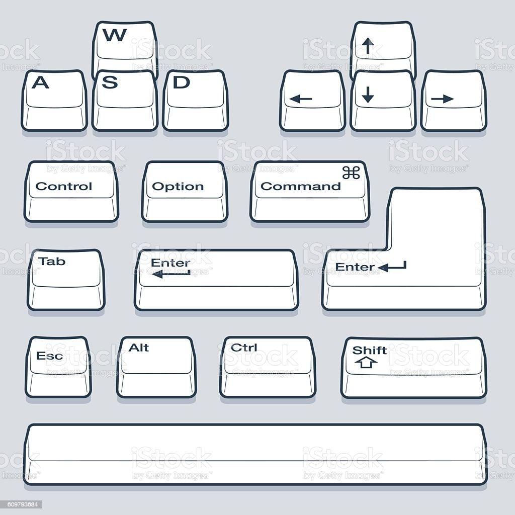 Line Art Keyboard Keys