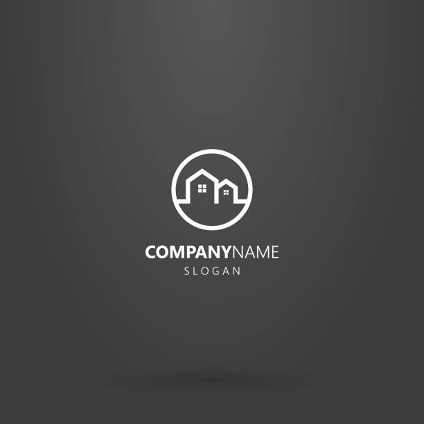 line art logo of two private houses in a round frame - real estate logos stock illustrations, clip art, cartoons, & icons