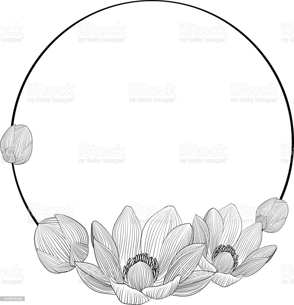 Royalty free lotus flower black and white clip art vector images line art lotus flowers in round frame for text vector art illustration izmirmasajfo