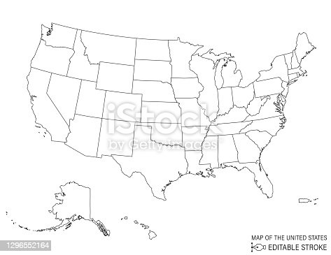 istock Line Art Map Of The United States 1296552164