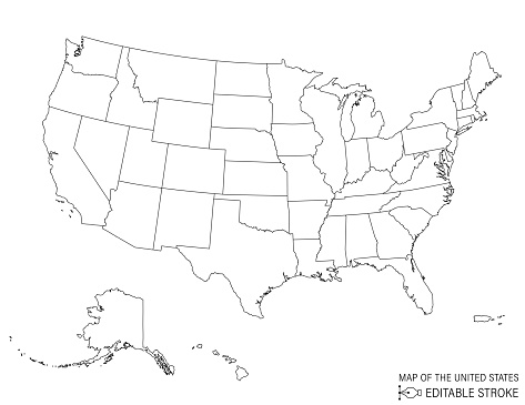 Line Art Map Of The United States
