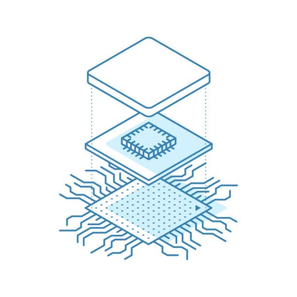 hat sanatı mikroçip. merkezi işlemci birimi kavramı. i̇zometrik vektör çizim - cpu stock illustrations