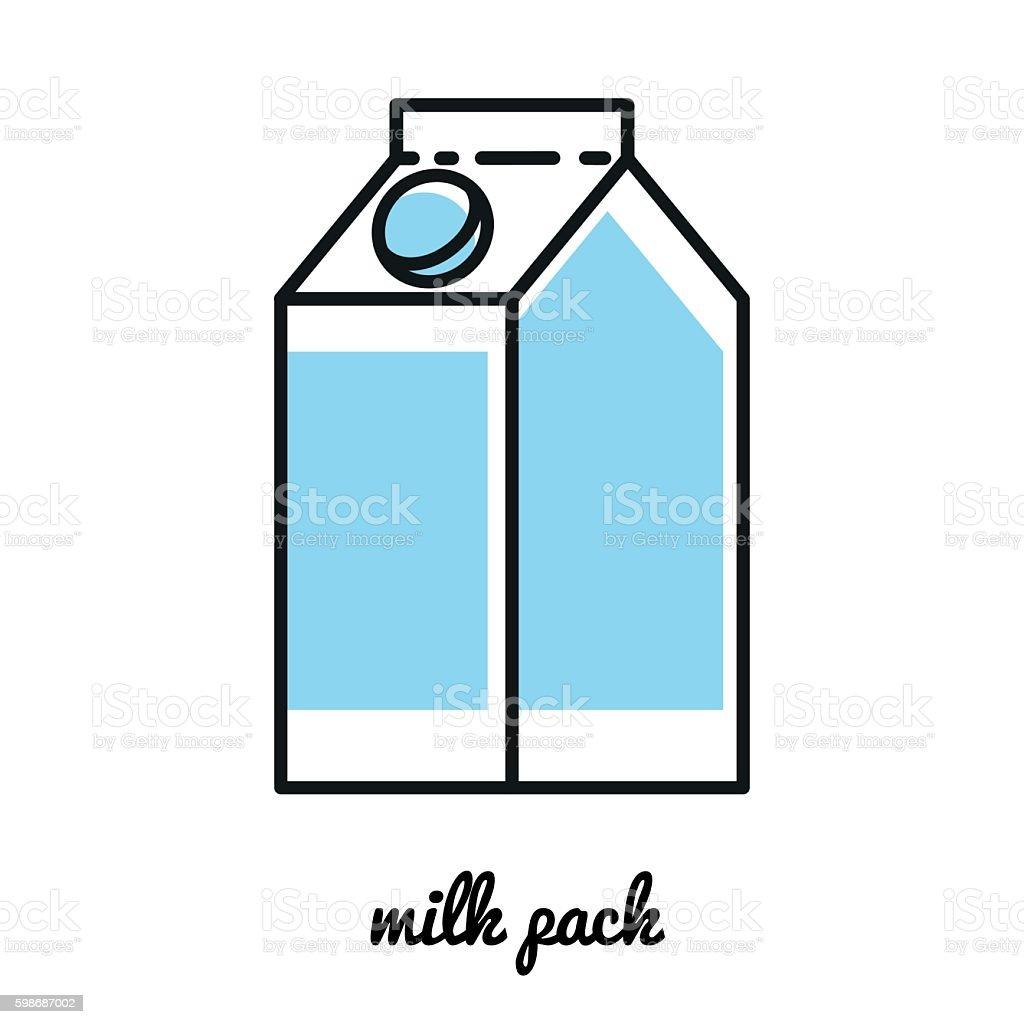 Line art milk pack icon. Infographic element векторная иллюстрация