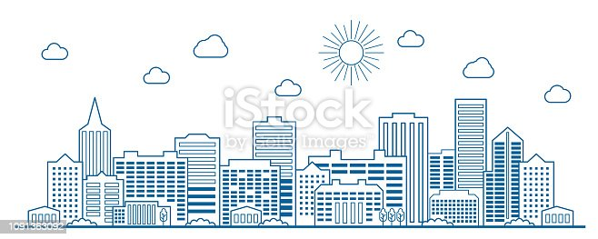 Line Art of modern Big City background with skyscrapers.