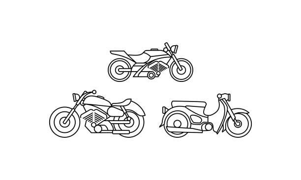 ilustrações, clipart, desenhos animados e ícones de linha arte da motocicleta logotipo icon vector - moto
