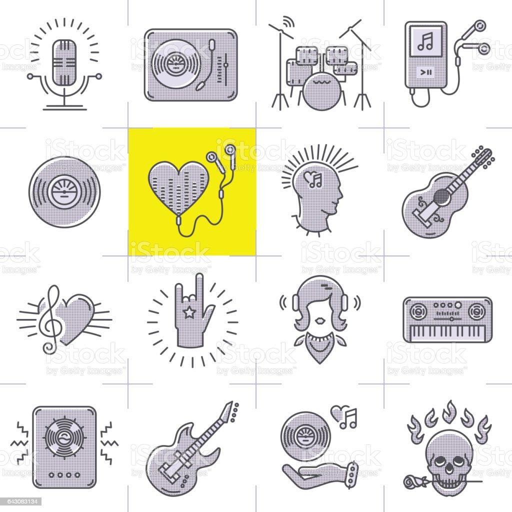 Line art music icons set rock punk symbols stock vector art more line art music icons set rock punk symbols royalty free line art music icons set biocorpaavc Image collections