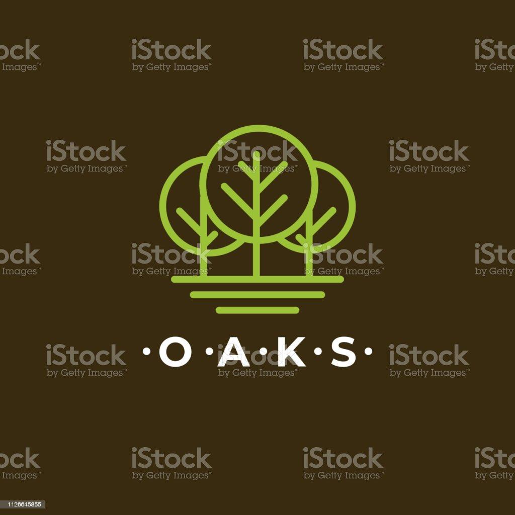 Line Art Oaks Tree Logotype Design Simple Minimal And Elegant Forest