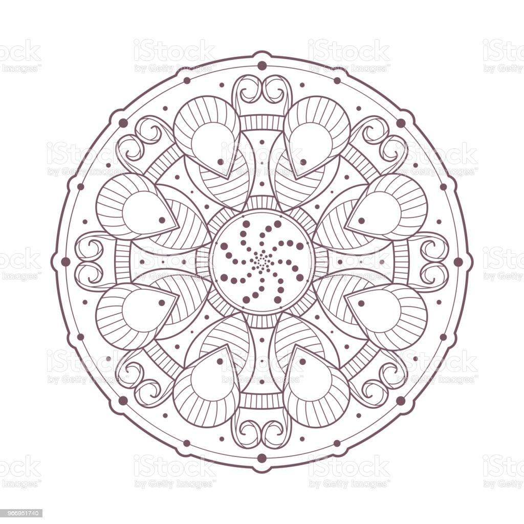 Ilustración de Línea Arte De Circular Intrincado Mandala Diseñado ...