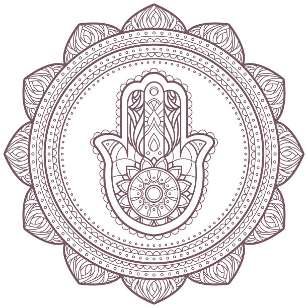 Line art of circular intricate mandala designed for coloring Printable template of a mandala useful as an decoration or for laser cutting rock formations stock illustrations