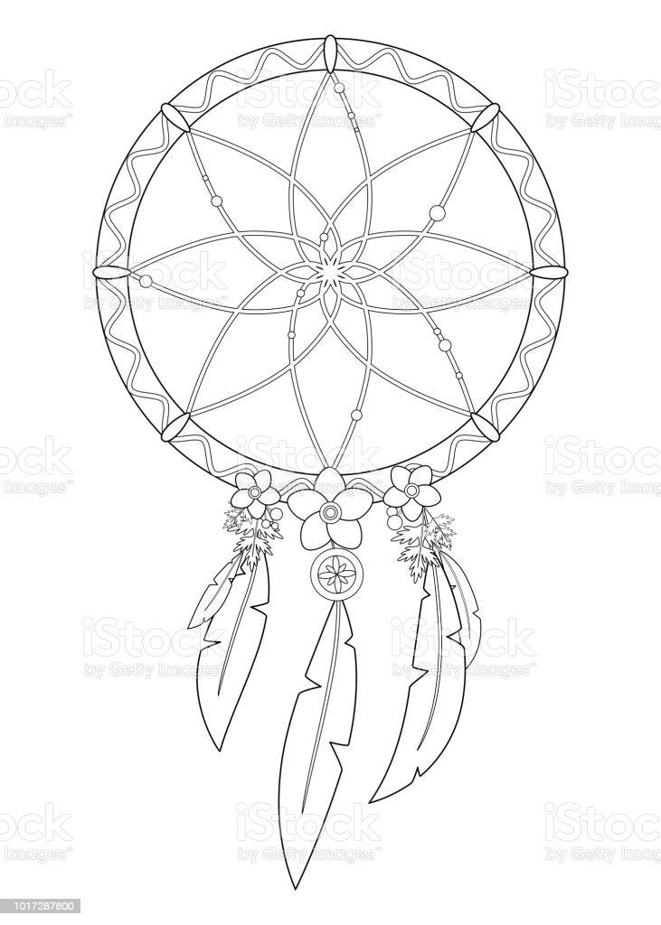 Dessin au trait de dreamcatcher avec plumes - Illustration vectorielle